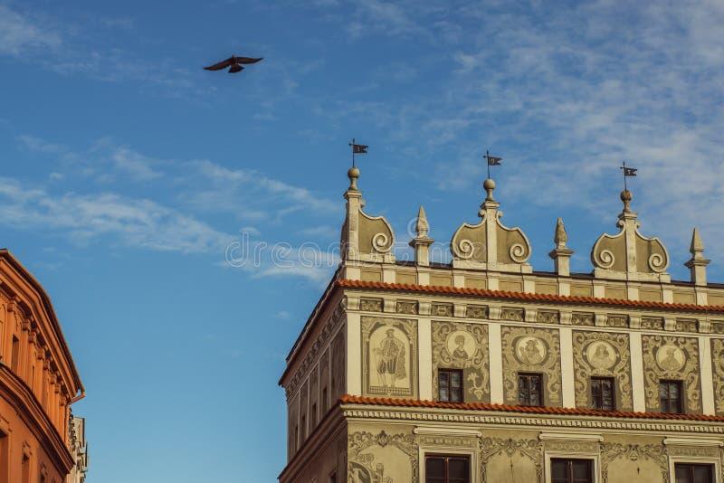 Gebouwen in het oude centrum van Lublin, Polen stock foto