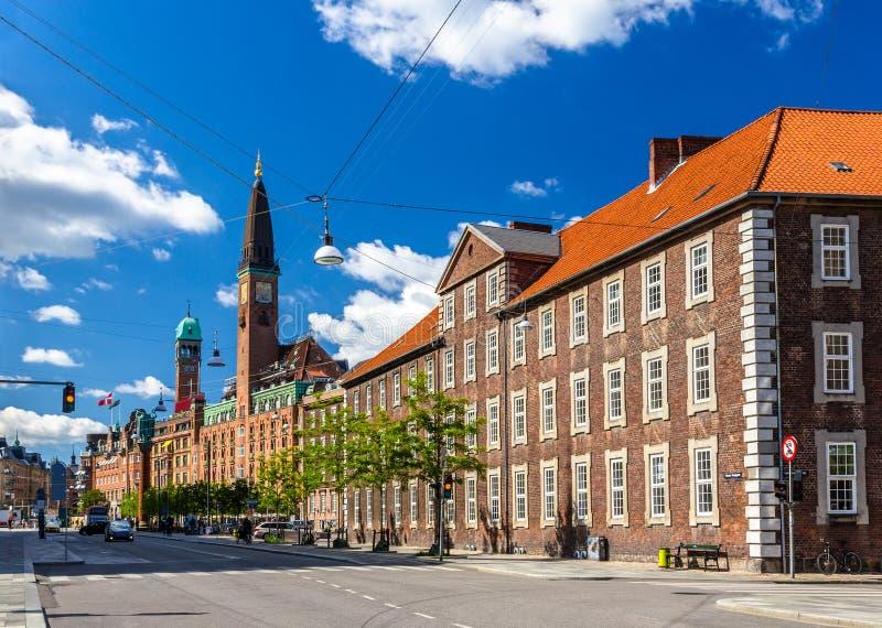 Gebouwen in het stadscentrum van Kopenhagen stock foto's
