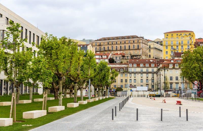 Gebouwen in het stadscentrum van Lissabon royalty-vrije stock afbeeldingen