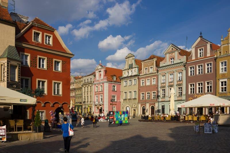 Gebouwen in het Vierkant van de Markt. Poznan. Polen royalty-vrije stock fotografie