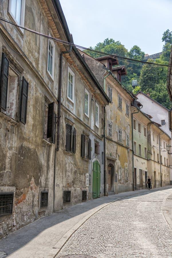 Gebouwen in historisch centrum van Ljubljana, Slovenië stock afbeelding
