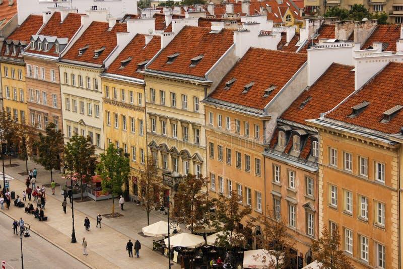 Gebouwen in Krakowskie PrzedmieÅcie. Warshau stock afbeelding