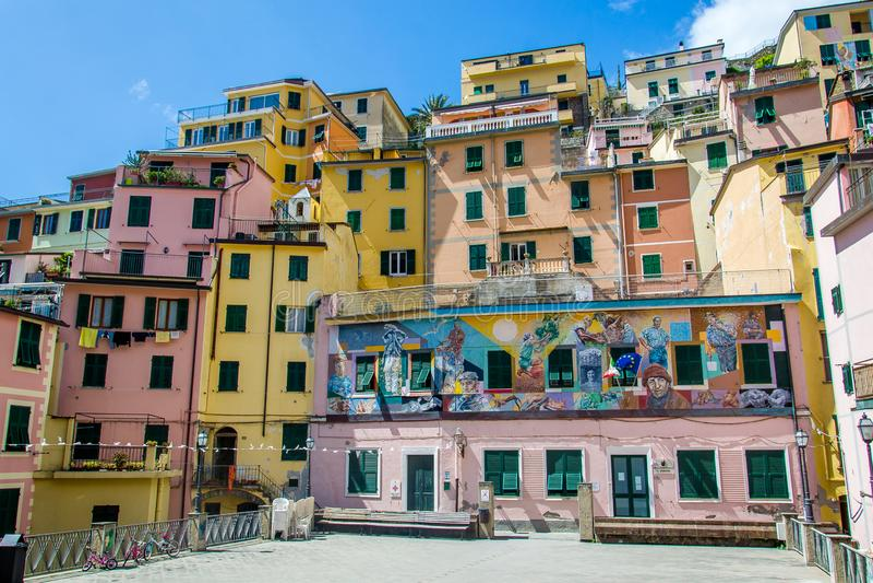 Gebouwen in Manarola-stad, Cinque Terre, Italië royalty-vrije stock afbeelding