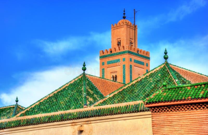 Gebouwen in Medina van Marrakech, een Unesco-erfenisplaats in Marokko stock afbeeldingen