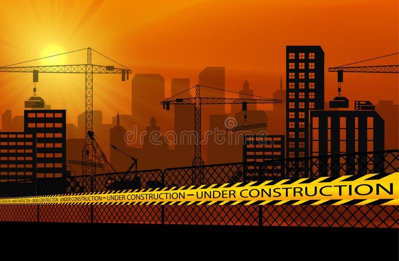 Gebouwen met kranen en in aanbouw de banden van de voorzichtigheidsbarrière stock illustratie