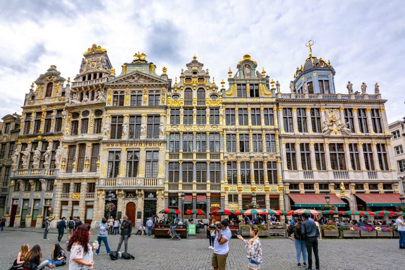 Gebouwen op Grand Place -vierkant in centrum van Brussel, België stock foto