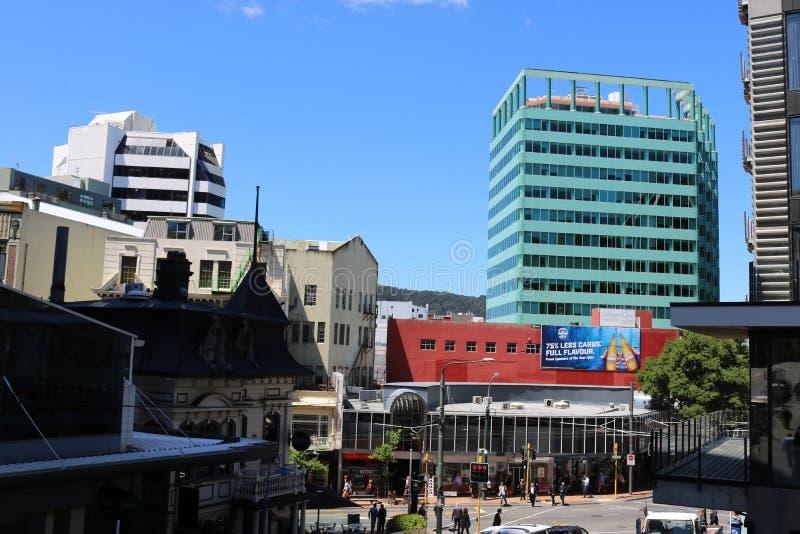 Gebouwen in stadscentrum, Wellington, Nieuw Zeeland royalty-vrije stock foto's