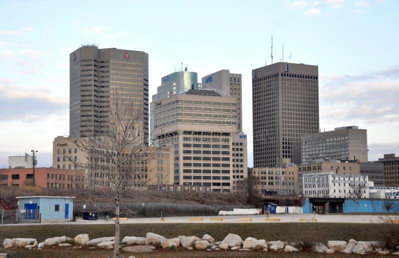 Gebouwen van de stad in in Winnipeg royalty-vrije stock afbeelding
