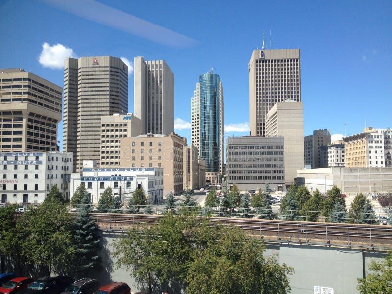 Gebouwen van de stad in in Winnipeg stock afbeeldingen