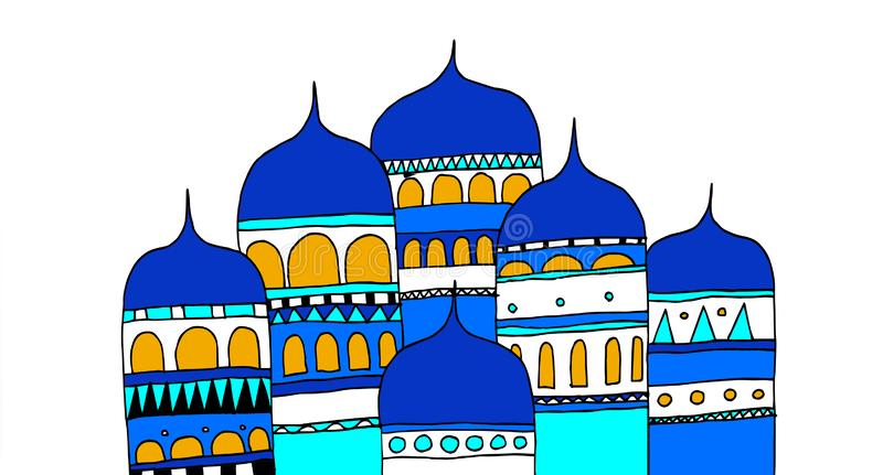 Gebouwen van een oude stad van het Russische Imperium vector illustratie