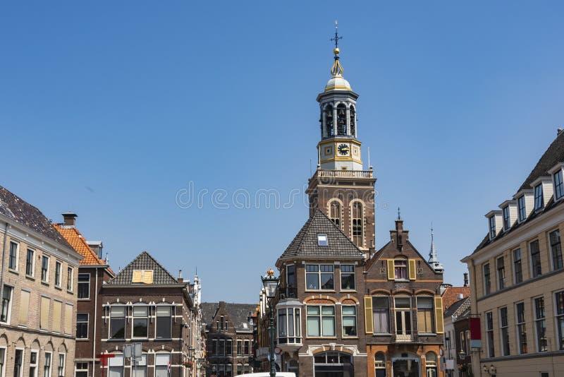 Gebouwen van het centrum van de stad van Kampen Holland Netherlands stock foto