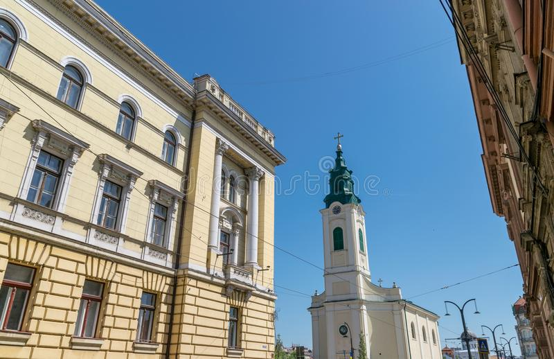 Gebouwenarchitectuur in Oradea, Roemenië, Crisana-Gebied stock foto's