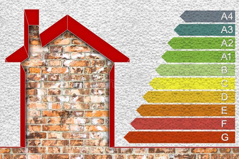 Gebouwenenergierendement Conceptenbeeld met huis met polystyreenmuren en energieklassen die thermaal wordt geïsoleerd volgens royalty-vrije illustratie