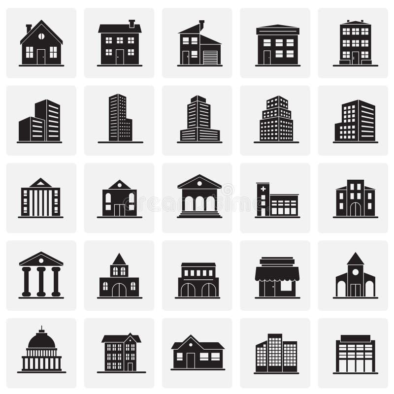 Gebouwenpictogrammen op vierkantenachtergrond worden geplaatst voor grafisch en Webontwerp dat Eenvoudig vectorteken Internet-con royalty-vrije illustratie