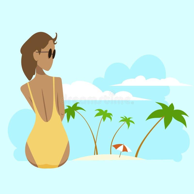 Gebräuntes Mädchen in einem gelben Badeanzug lizenzfreie abbildung