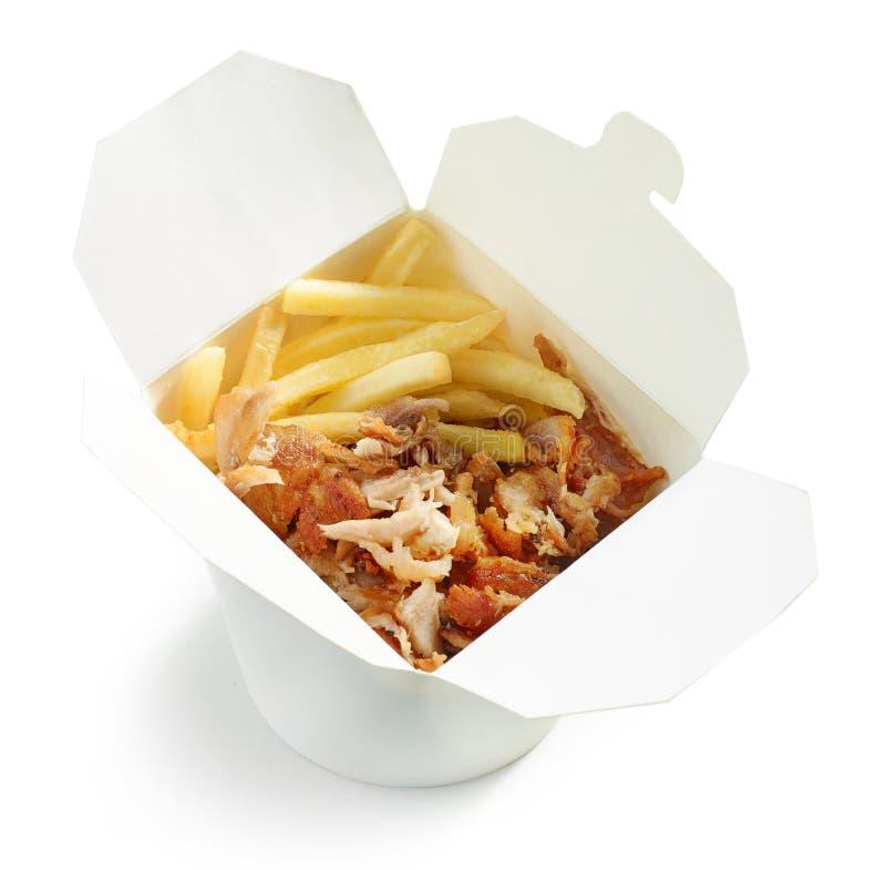 Gebraden aardappels en de gyroscopenvlees van de kippenkebab stock foto