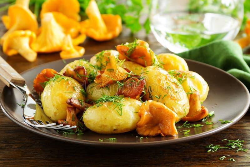 Gebraden aardappels met cantharel stock afbeelding