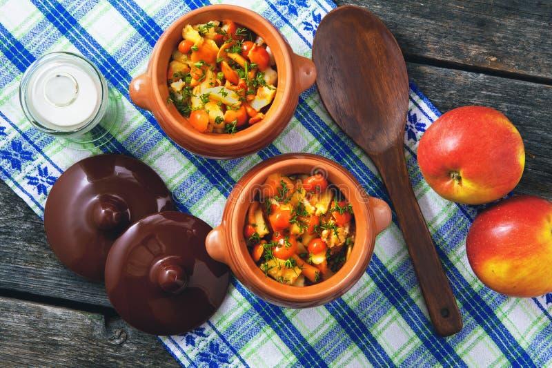 Gebraden aardappels met paddestoelen en dille in potten, zout, appelen op een servet royalty-vrije stock afbeelding