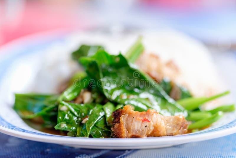 Gebraden boerenkool met knapperig varkensvlees met rijst royalty-vrije stock foto's