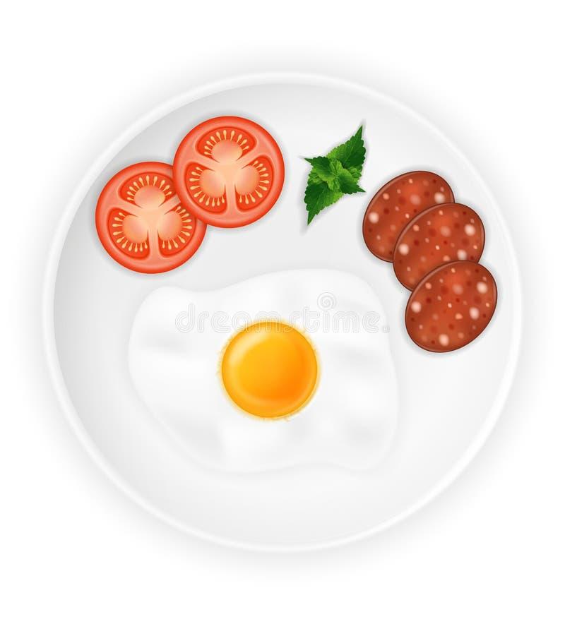 Gebraden braadstukei en worsten op een plaat met de vectorillustratie van de groentenvoorraad royalty-vrije illustratie