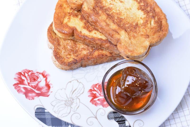 Gebraden broodplakken Bulgaars Ontbijt royalty-vrije stock foto's