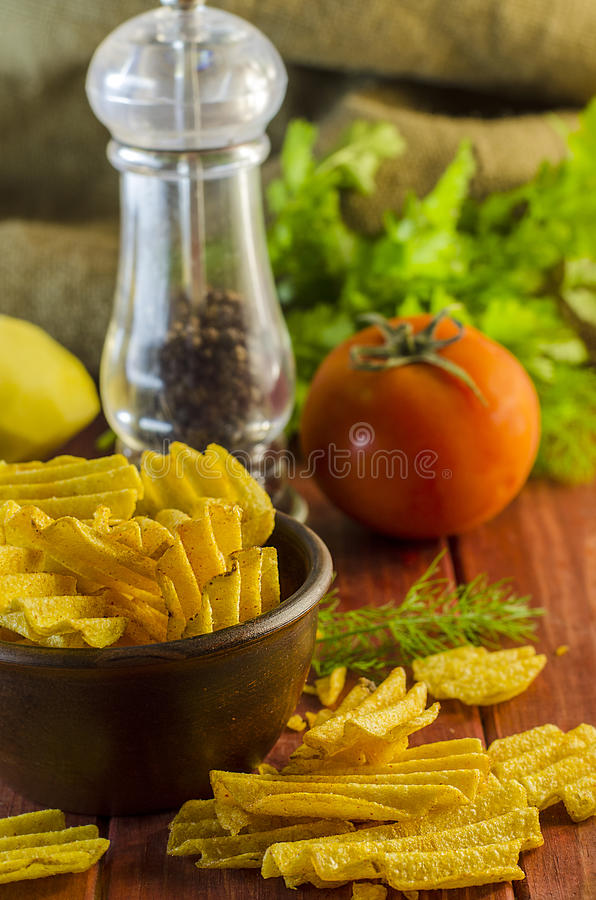 Gebraden chips stock fotografie