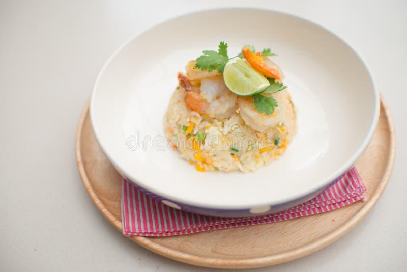 Gebraden de garnalenvoedsel van het rijstei royalty-vrije stock fotografie