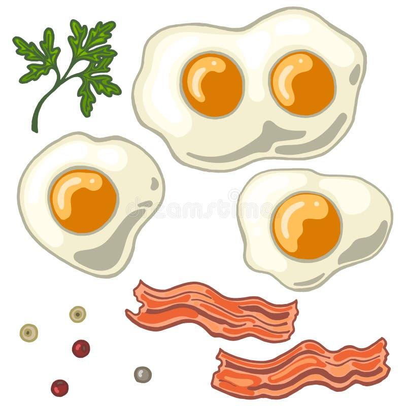 Gebraden die ei op witte achtergrond met gebraden bacon, peper en koriander wordt geïsoleerd royalty-vrije illustratie