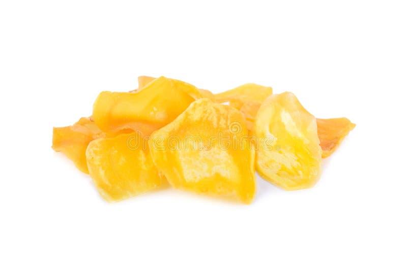 Gebraden durian spaanders op witte achtergrond royalty-vrije stock fotografie