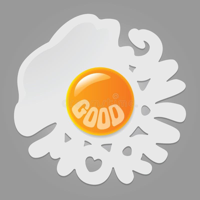 Gebraden ei met woordengoedemorgen stock foto
