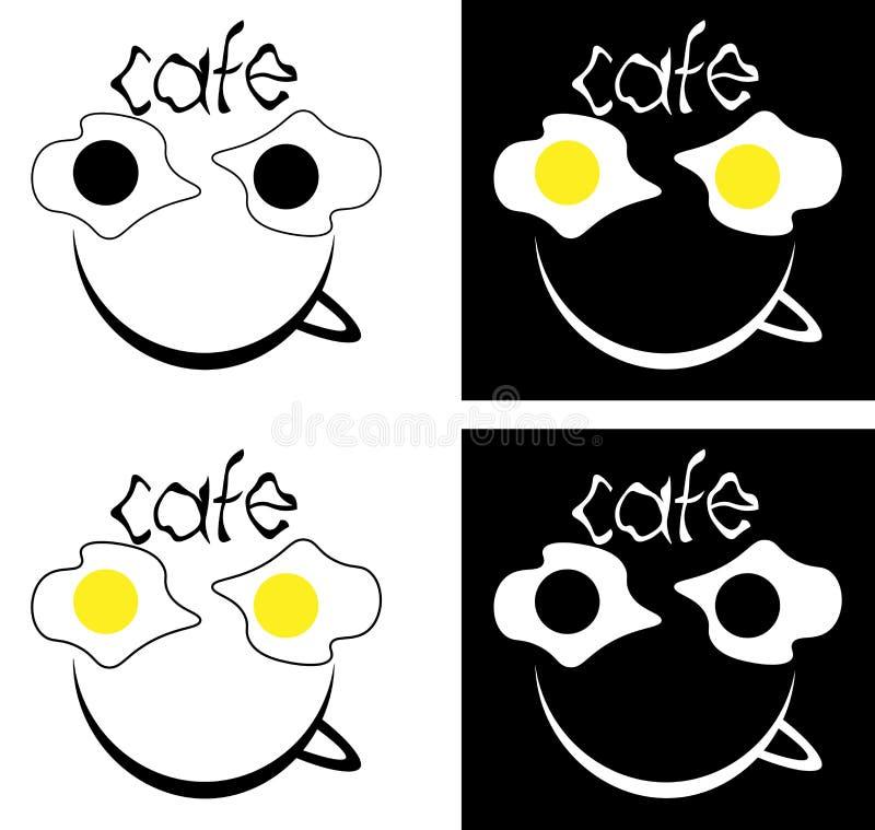 Gebraden eieren en een kop van koffie, het minimalistische embleem van de inschrijvingskoffie stock illustratie