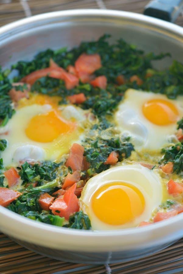 Gebraden eieren met spinazie stock fotografie