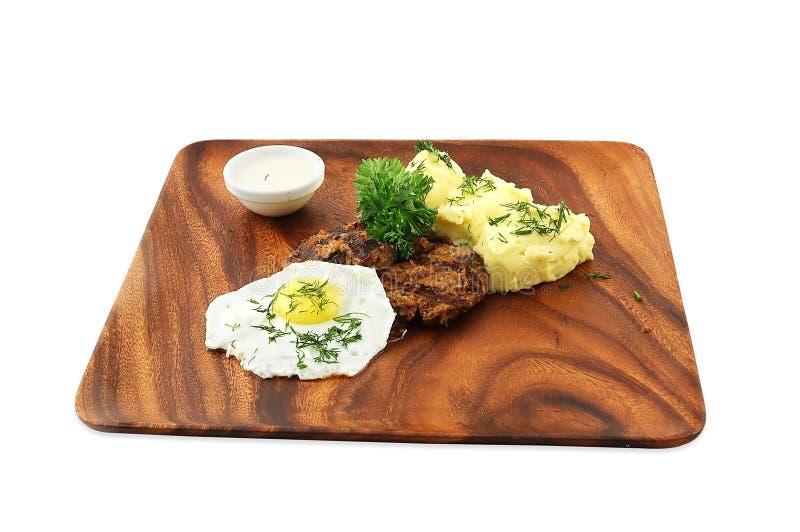 Gebraden eieren met vlees royalty-vrije stock afbeelding
