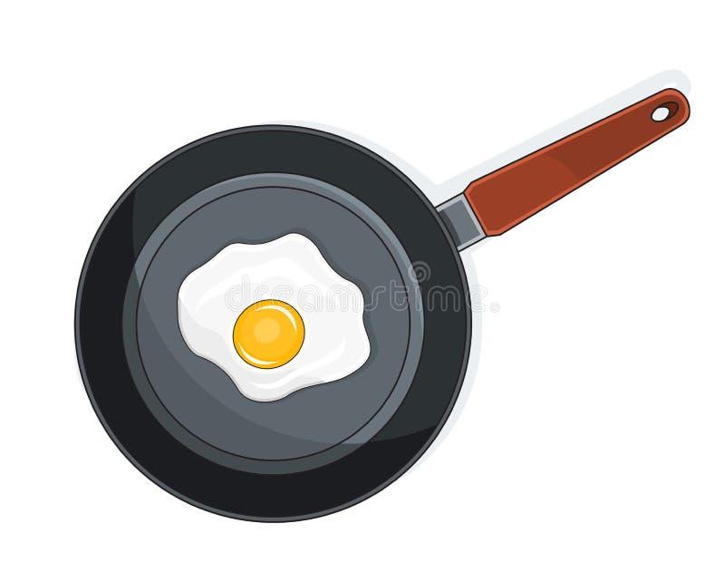 Gebraden eieren op pan vector illustratie