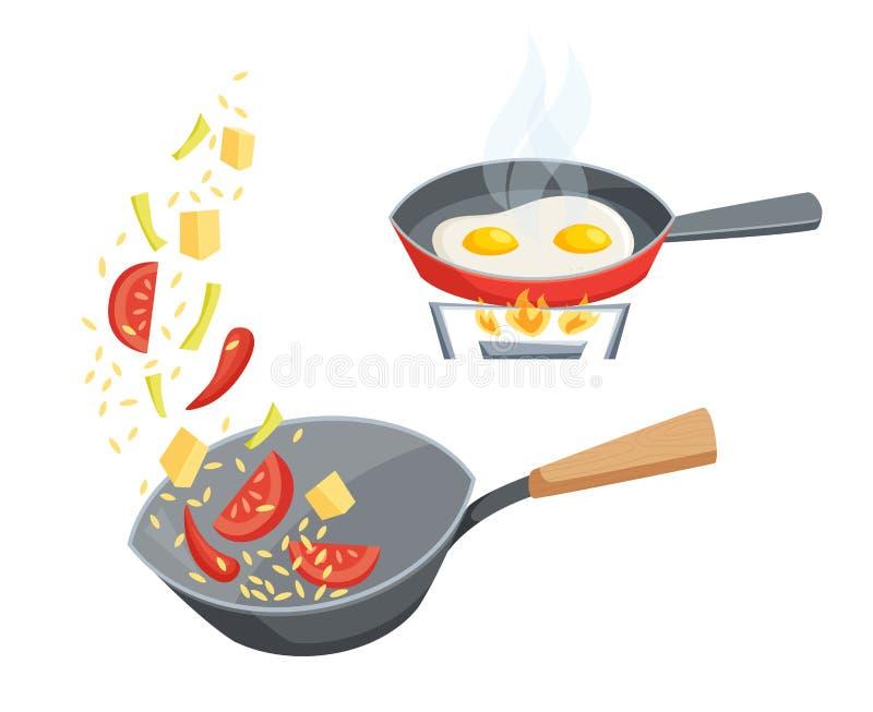 Gebraden gerecht in een pan stock illustratie