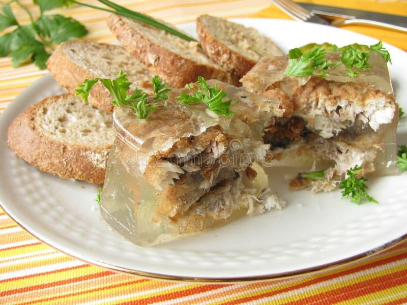 Gebraden haringen in aspic stock foto's