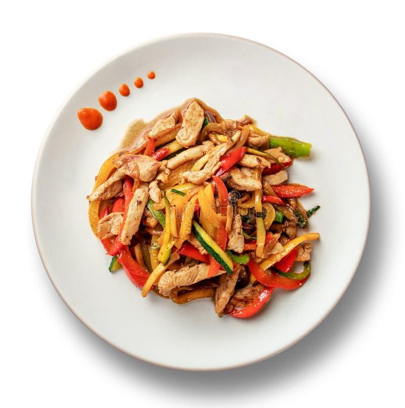 Gebraden kip met veggies in witte plaat royalty-vrije stock foto