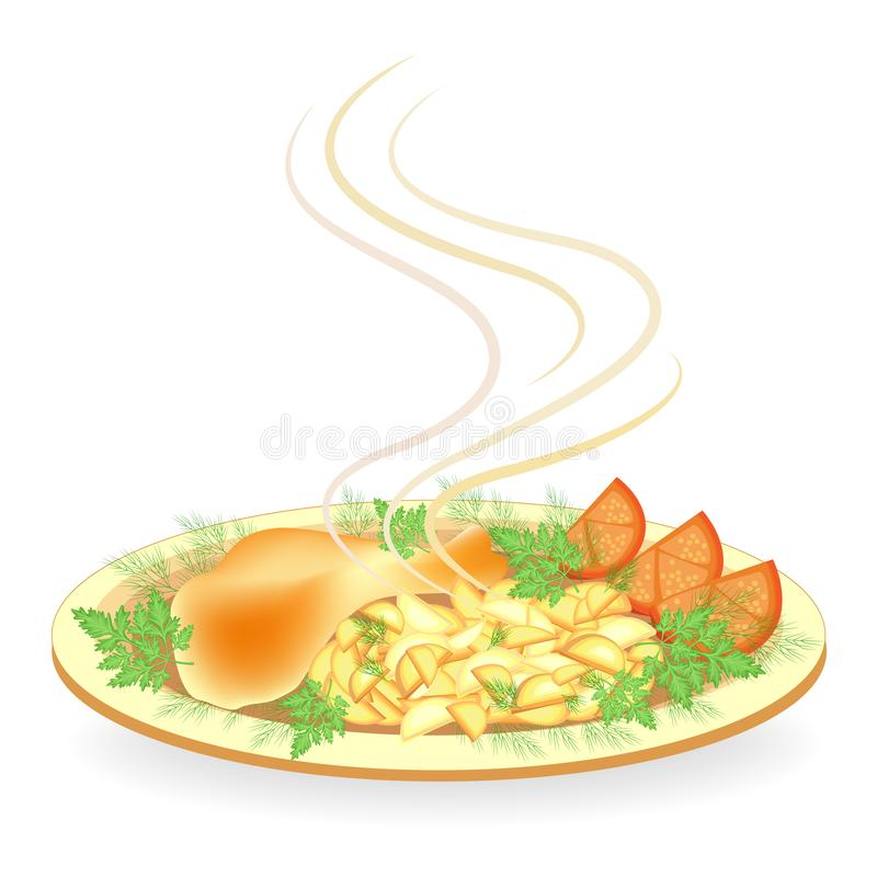 Gebraden kippenbeen op een plaat Versier de de de aardappeltomaat, dille en peterselie Heerlijk, vers en voedzaam voedsel Vector stock illustratie