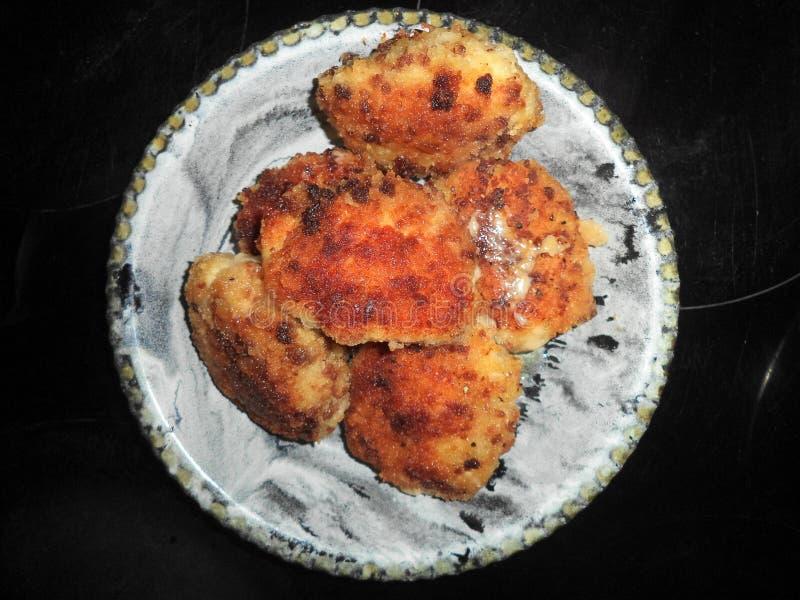 gebraden kippenkarbonades met kaas royalty-vrije stock foto
