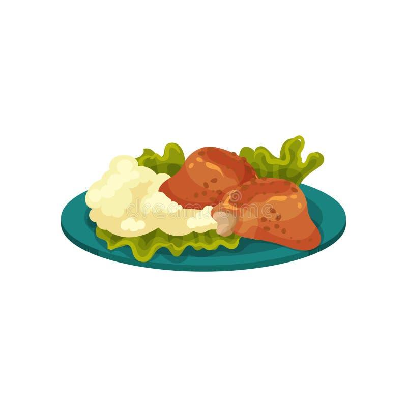Gebraden kippenvlees en fijngestampte aardappels, smakelijke schotel vectorillustratie op een witte achtergrond royalty-vrije illustratie