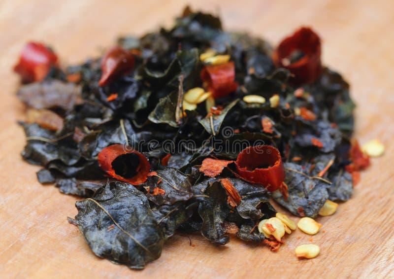 Gebraden moringa bladeren royalty-vrije stock afbeeldingen