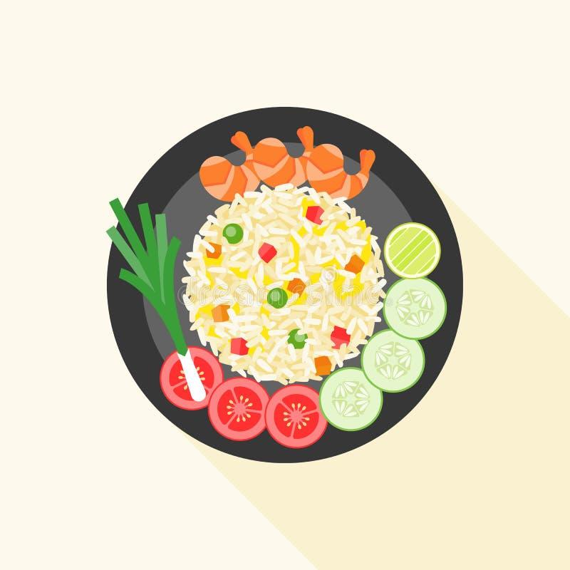 Gebraden rijst stock illustratie