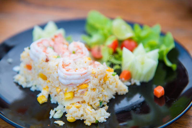 Gebraden rijst met garnalen royalty-vrije stock fotografie