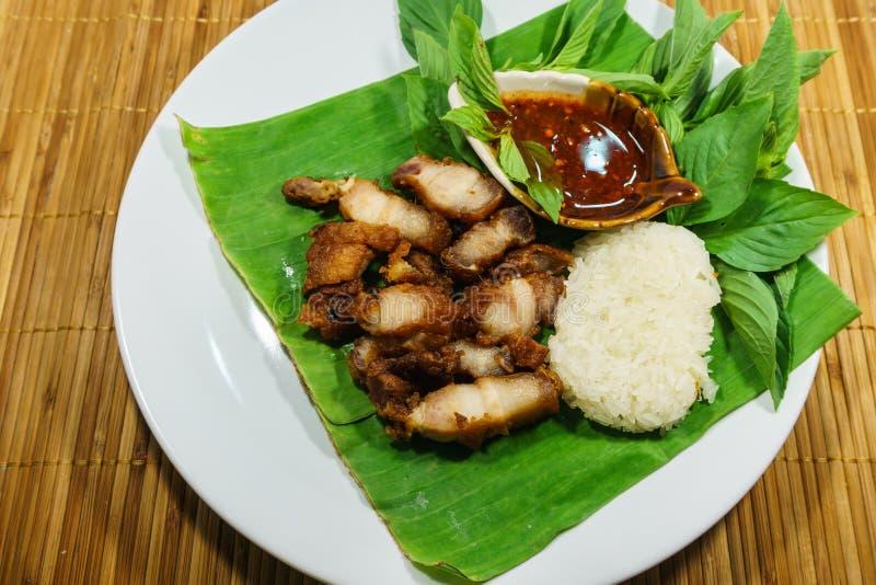 Gebraden varkensvlees en kleverige rijst met saus op schotel stock afbeelding