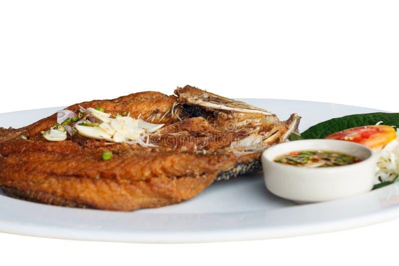 Gebraden Vissen met de saus van Vissen stock fotografie