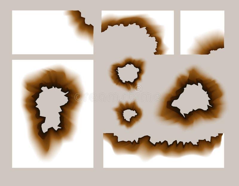 Gebrand Document Gat Geschroeide document transparante gaten vectorillustratie Gebrande randen grunge textuur royalty-vrije illustratie