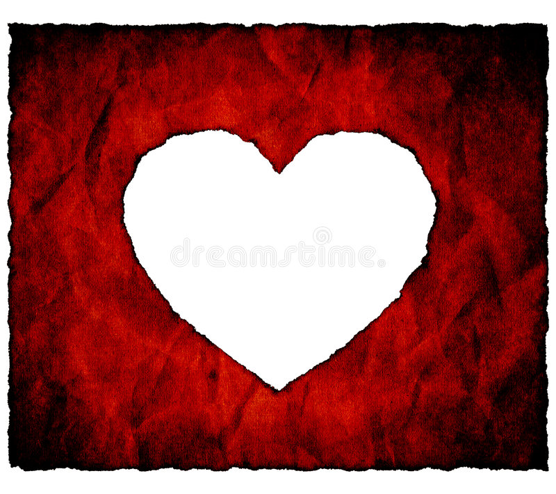 Gebrand document hart stock illustratie