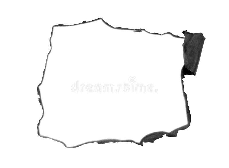 Gebrand document op rand met lege witte ruimte stock illustratie