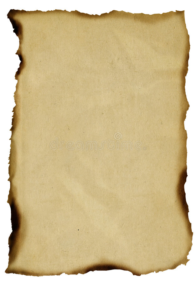 Gebrand oud document royalty-vrije stock fotografie