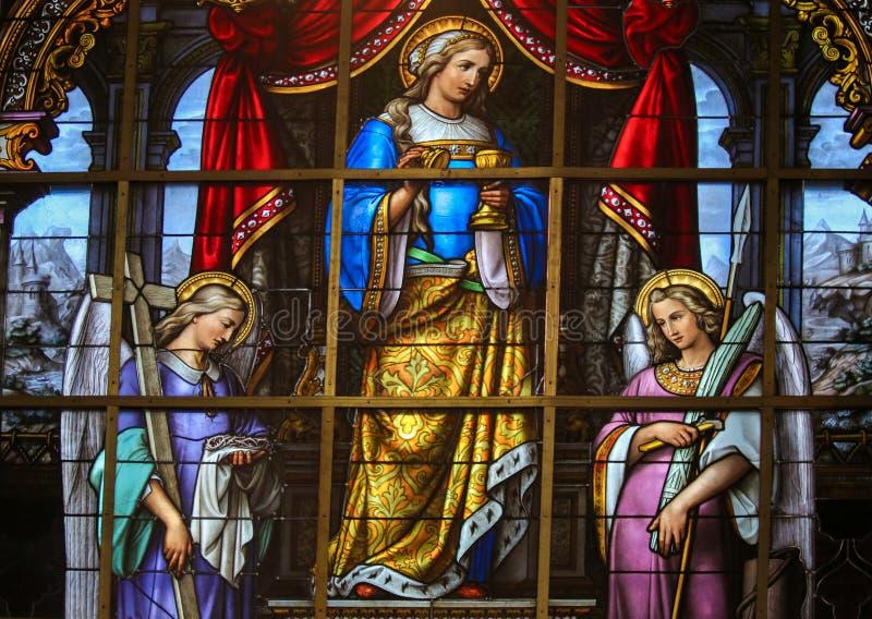 Gebrandschilderd glas - Allegorie op het Lijden van Jesus stock fotografie